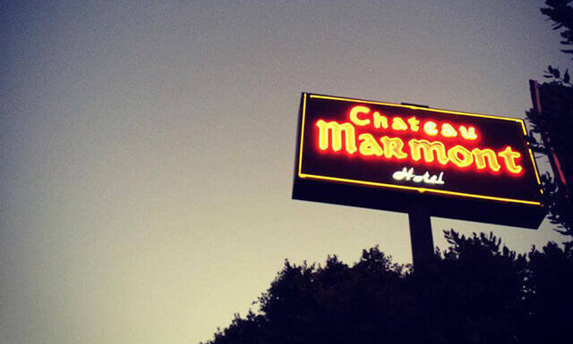 Chateau Marmont at night overlooking Sunset Boulevard